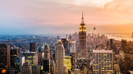 USA New York skyline building coucher soleil